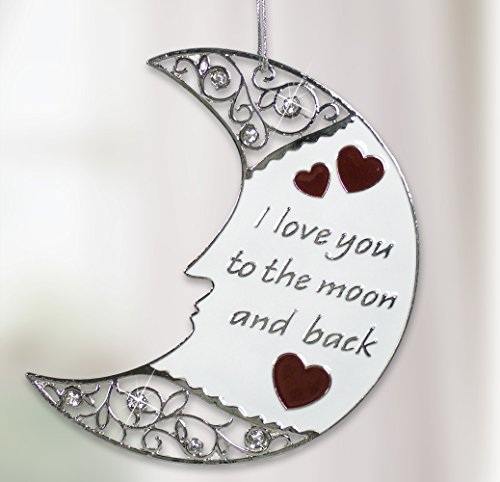 Ornament Love (Silver Moon Ornament - I Love You to the Moon and Back Christmas Ornament with Loving Saying)