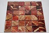 Summer - 2'' x 2'' Red, Gold & Brown Glass Tile