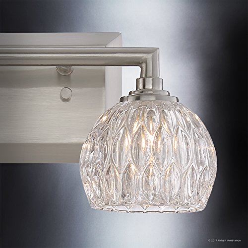 Luxury Crystal Bathroom Vanity Light, Medium Size: 6.25''H x 12.5''W, with Classic Style Elements, Brushed Nickel Finish and Marquis Cut Glass Shades, G9 LED Technology, UQL2620 by Urban Ambiance by Urban Ambiance (Image #5)