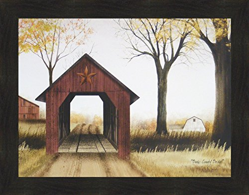 (Home Cabin Décor Bucks County Bridge by Billy Jacobs 22x28 Covered Bridge Barn Country Road Primitive Folk Art Print Framed Picture)