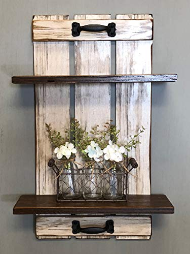 SHELF wall bathroom kitchen bedroom *Tray living room *Bathroom accessories, Wood *Rustic Distressed Wood *Vertical Wall Decor 14.5 X 23 Antique White, Gray, Grey, Brown