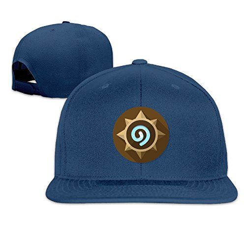 Edongquwe Hearth Stone Logo Flat Bill Snapback Adjustable Walk Cap Hat Navy