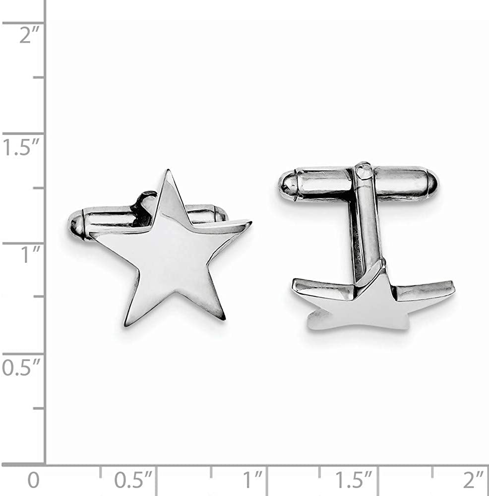 925 Sterling Silver Solid Polished Not engraveable Star Cuff Links