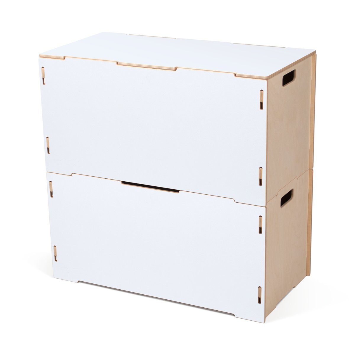 Stacking Crates Wooden Storage Tote Set (Two Totes, One Lid) ホワイト CR_TT2-WHT B01N24KN1V Wooden Storage Tote Set (Two Totes, One Lid)|White Painted Baltic Birch White Painted Baltic Birch Wooden Storage Tote Set (Two Totes, One Lid)