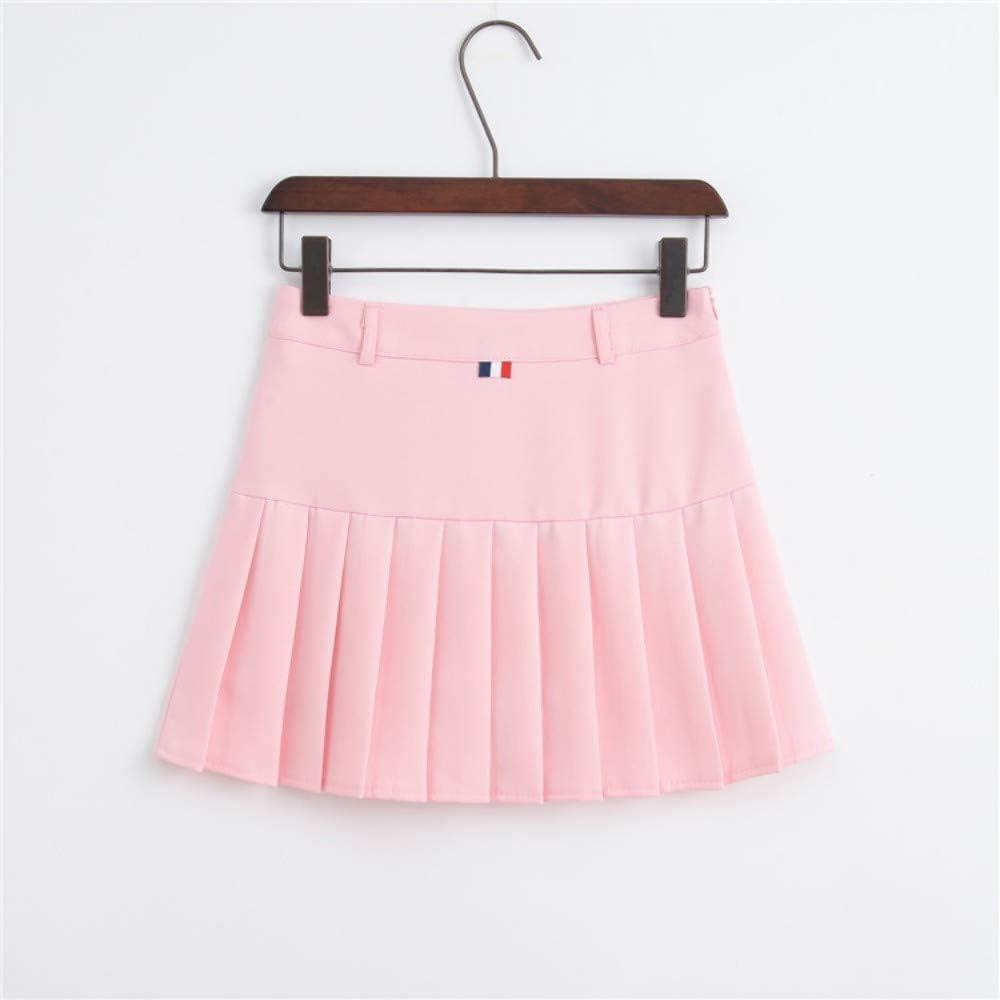 HEHEAB Falda,La Primavera Y El Verano Rosa Mujeres Coreanas De Cintura Alta Falda Plisada Mini Tenis Niñas Falda Falda Falda Corta La Escuela Cuero Cosplay