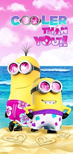 Minions Cooler than you! Beach Towel measures 28 x 58 inches -