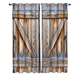 Window Treatments Curtains Room Window Panel Set for Living/Dining/Bedroom, Rustic Old Wooden Barn Door 40 by 63 Inch, 2 Panels