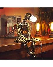 ADFD Kreativ järnrobot bordslampa retro robot vattenrör bordslampa bar restaurang café Steampunk dekoration