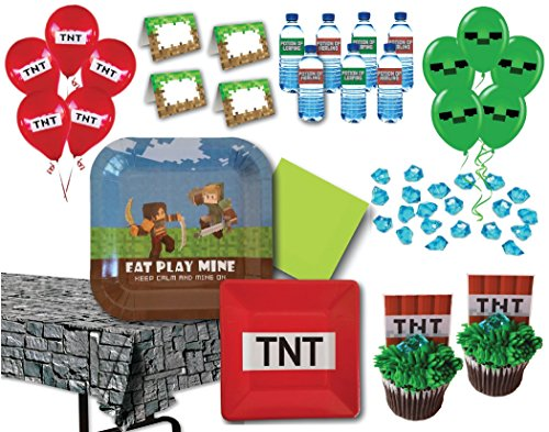 Miner Themed Birthday Party Supply Pack for 14 Guests by Pixel Fun (Party Minecraft)