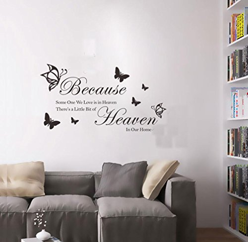 BIBITIME Butterflies Quotes and Sayings Wall Decal Because Someone We Love is in Heaven, There's a Little Bit of Heaven in Our Home Vinyl Lettering Stickers,22.44