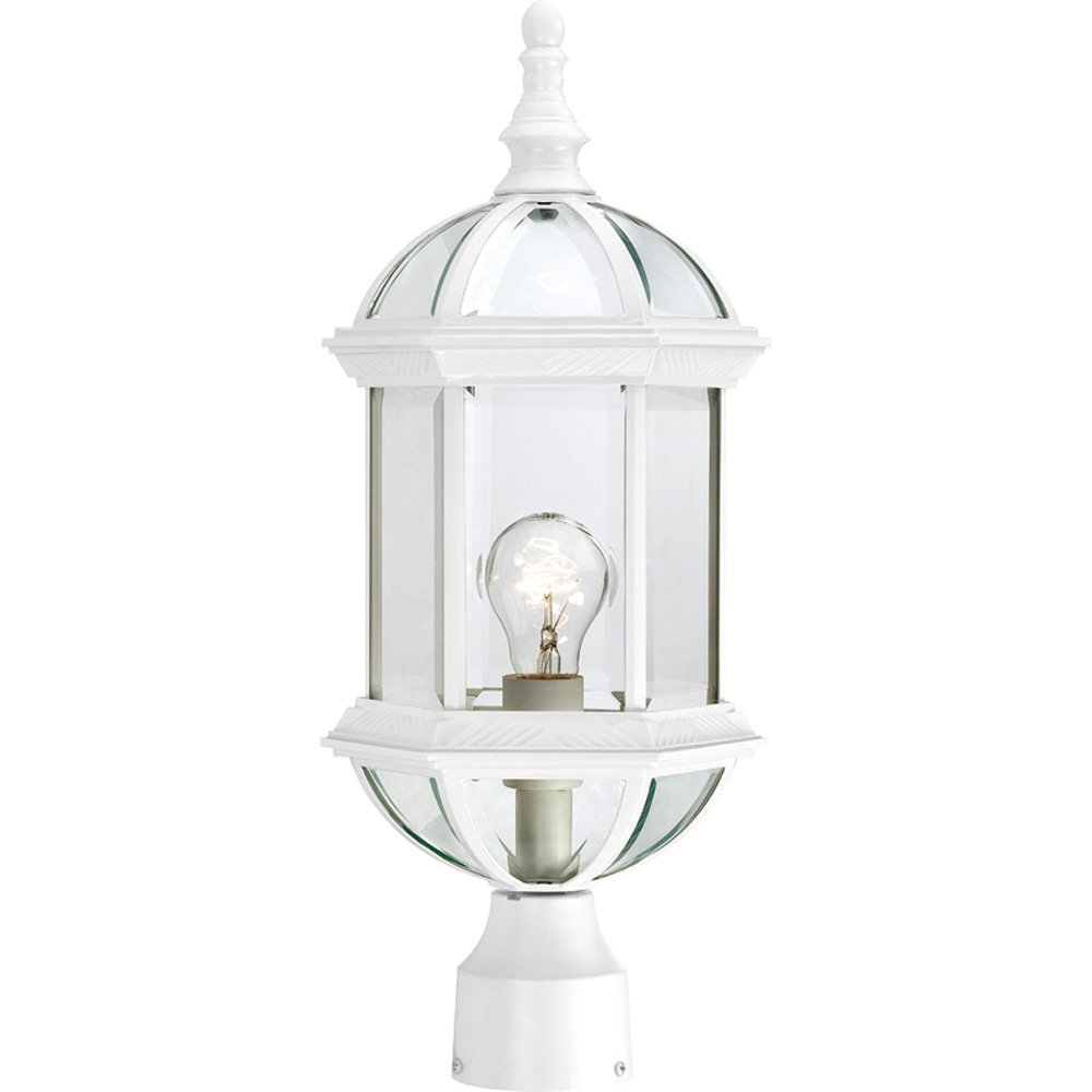 Nuvo Lighting 60/4974 Boxwood One Light Post Lantern 100 Watt A19 Max. Clear Beveled Glass White Outdoor Fixture