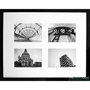 The Display Guys~ 16x20 Inch Matte Black Solid Pine Wood Photo Frame, Tempered Glass, Luxury Made Affordable, With 2pcs White Core Mat Boards for 11x14 Picture + Collage Mat Boards for 4- 5x7 Pictures