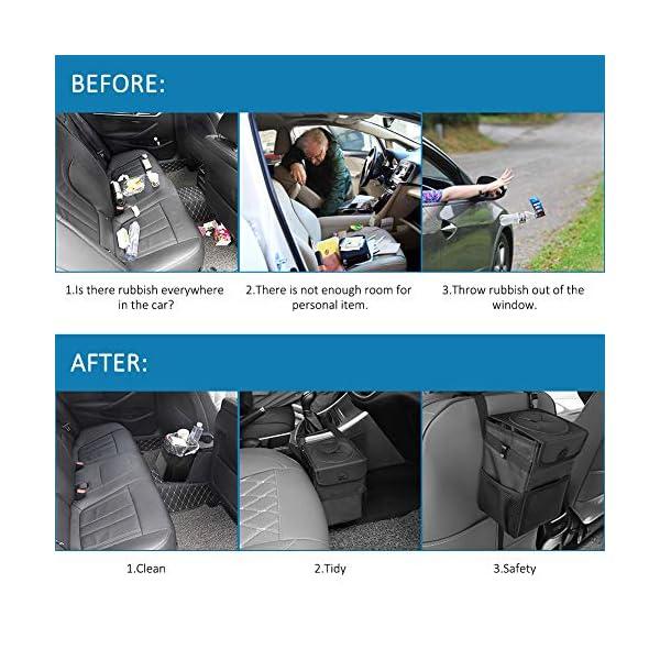 513iOq0TYDL Winzwon Auto Mülleimer, IP68 Wasserdicht Abfalltasche, 6L Faltbar Abfalltasche Auto Tasche mit Deckel, Zusammenfaltbare…