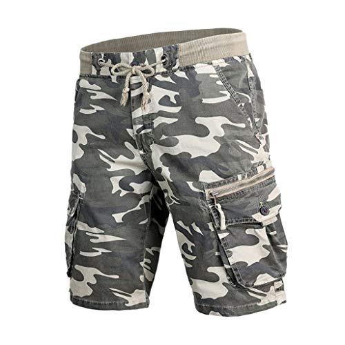 iZHH Shorts for Men Casual Cotton Pocket Solid