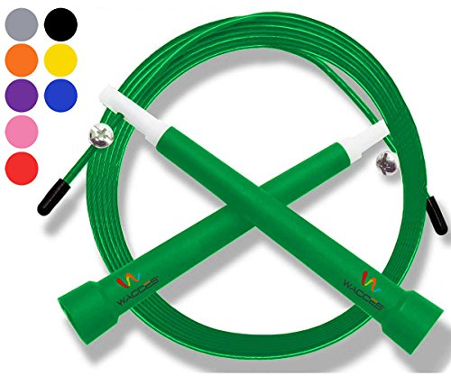 - Wacces Premium Quality Adjustable Double Unders High Speed Jump Rope for Boxing, Martial Arts and Fitness (Green)
