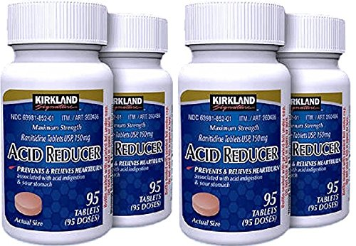 Kirkland Signature Maximum Strength Acid Reducer Ranitidine 150mg, GrPxHi 4 Pack(95 Tablets)