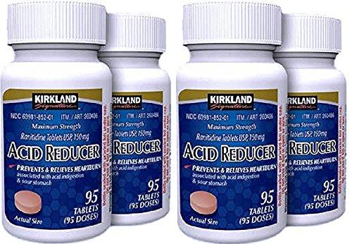 Kirkland Signature Maximum Strength Acid Reducer Ranitidine 150mg, GrPxHi 4 Pack(95 Tablets)