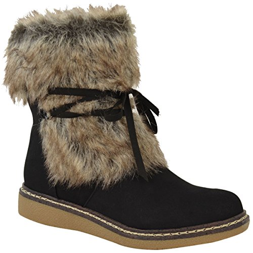 Fashion Thirsty Womens Flat Low Wedge Faux Fur Winter Ankle Boots Warm Size 7