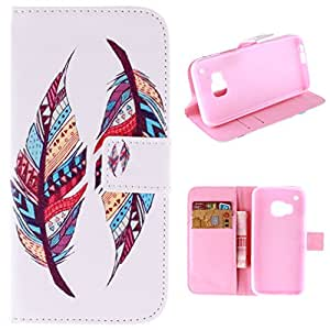 Para HTC One M9 , ivencase Tribal Feather Billetera Magnética Patrón With Built-in Media Stand and Ranuras Tarjetas Crédito Flip PU Cuero [Closure] Protector Funda Carcasa Tapa Case Cover Para HTC One M9 / HTC One Hima 5 ""
