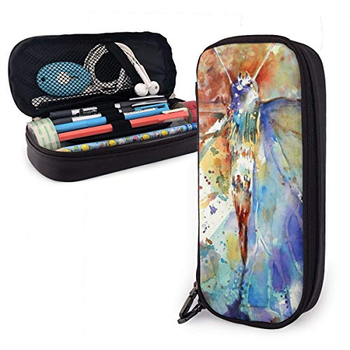 Synthetic Leather Pen Case Jeweled Butterfly Painting Pen Bag Zipper Pencil Pen Pouch Case Holder Bag for School Work Office ()