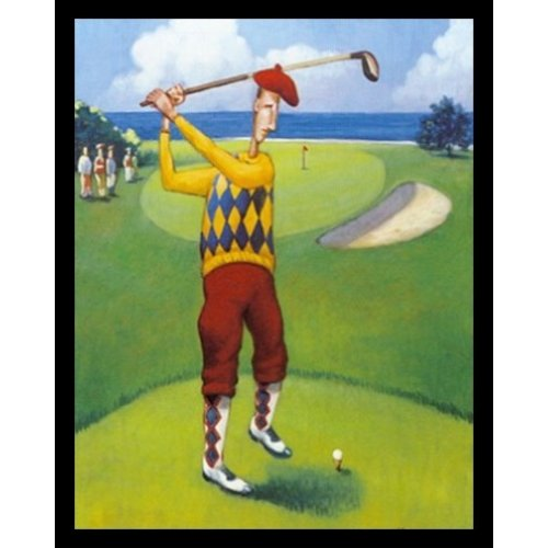 Plaid Fairway (FRAMED Ready to Drive by David Morocco 18x24 Art Print Poster Abstract Figurative Sports Poster Golf Teeing Off Fairway Green Plaid Clothes)