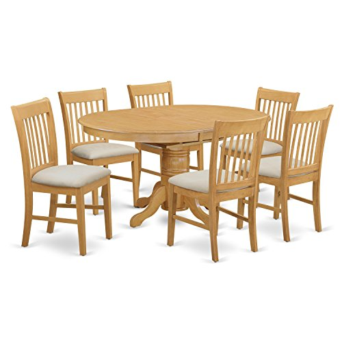 East West Furniture AVNO7-OAK-C 7 Piece Dinette Table and 6 Dining Chair (Oak Extension Dining Table)