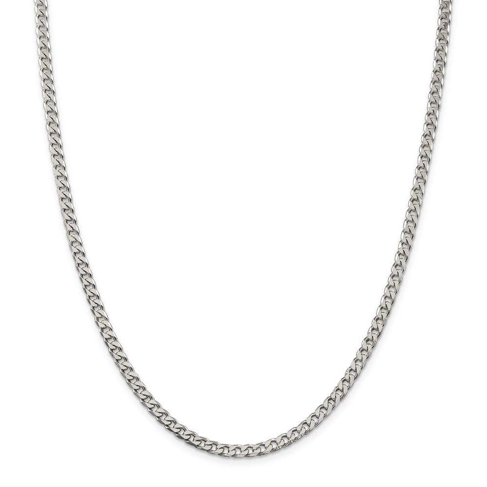 Black Bow Jewelry 3.5mm Sterling Silver Solid Curb Chain Necklace