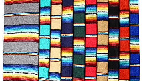 El Paso Designs Serape falsa Blanket- 57''x74'' Classic Mexican Serape Pattern in Vivid Color- Hand Woven Acrylic Falsa Blanket. (Random) by El Paso Designs