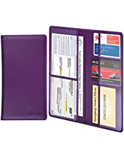 Car Registration Holder - Wisdompro Premium PU Leather Vehicle Glove Box Documents Wallet Case Organizer for ID, Insurance Paperwork, Driver's License, Key Contact Information Cards