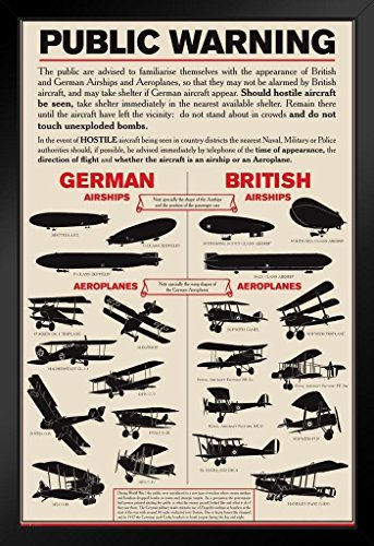 Public Warning German British Airships 1915 World War I Framed Poster 14x20 inch - 1915 Poster
