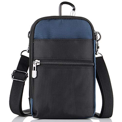 liangdongshop 3 Way Water Resistant Utility Gadget Pouch RFID Blocking Passport Phone Waist Pack with Locking Carabiner(Dark Blue)