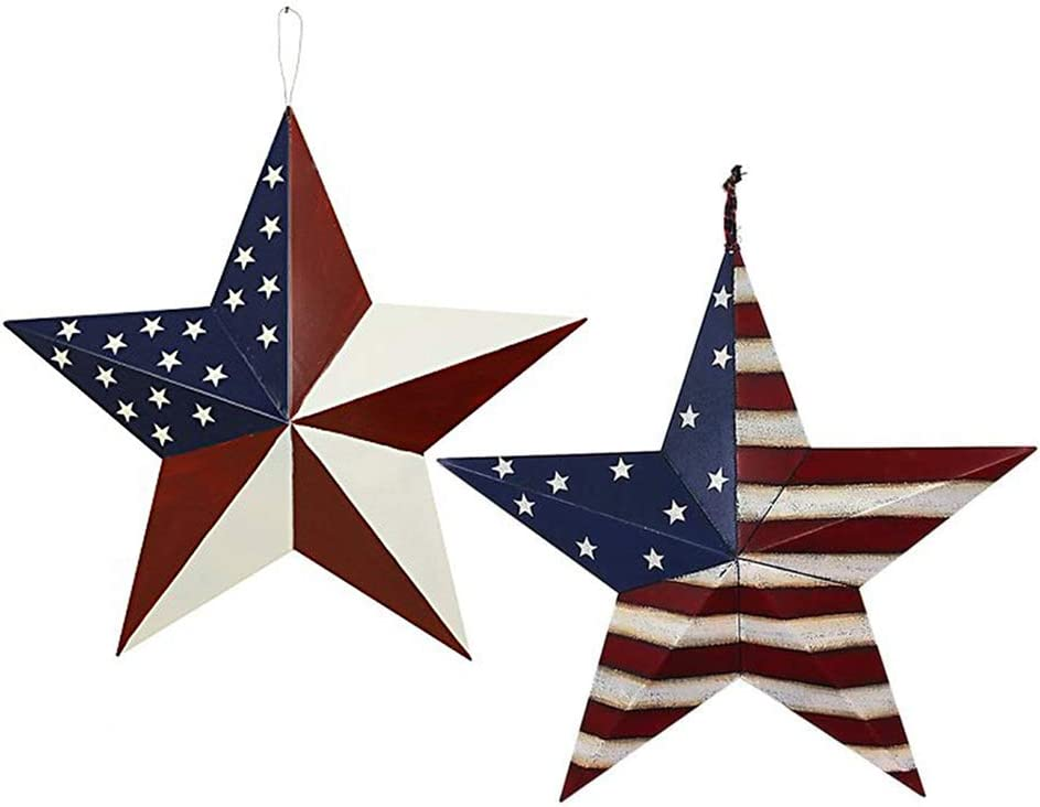2pcs Patriotic Metal Barn Star Outdoor Indoor Hanging Wall Decor Star Ornaments 4th of July Decoration Country Style (12