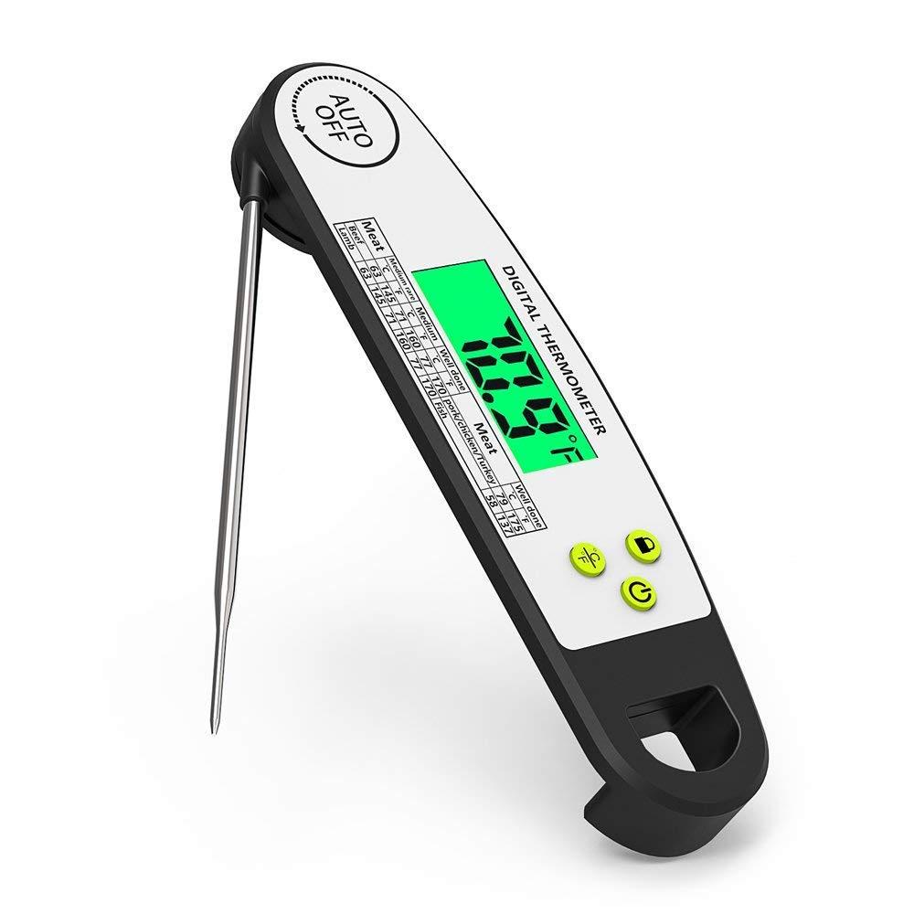 Big Fun Grillthermometer Küchenthermometer Fleischthermometer Essen Thermometer für Kochen mit Faltbares und Magnet