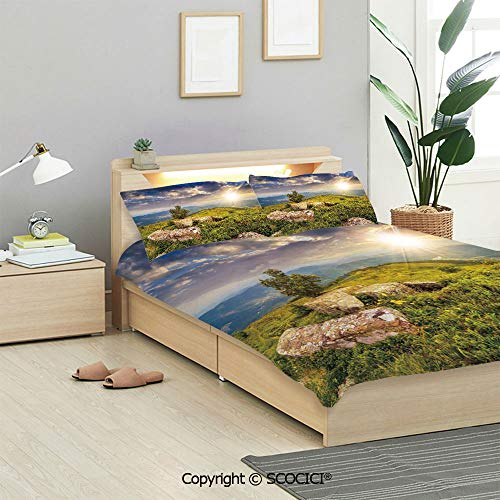 SCOCICI Mountain Bedding Sets 3 Pieces(1 Duvet Cover 2 Pillow Shams) Small Tree Behind Boulders Hillside Grass Greenery Meadow Scenic Dramatic Duvet Cover Sets for Kids/Twin/Single All ()
