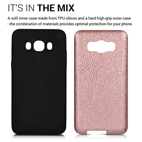kwmobile Funda para Samsung Galaxy J5 (2016) DUOS - Case híbrida Diseño Bóveda de TPU silicona - Hard Cover Diseño Bóveda en antracita negro Híbrido oro rosa negro