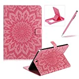 Wallet Case for Samsung Galaxy Tab A 9.7 T550,Flip Pu Leather Case for Samsung Galaxy Tab A 9.7 T550,Herzzer Classic Elegant [Pink Mandala Flower Pattern] Stand Function Magnetic Smart Leather Case with Soft Inner for Samsung Galaxy Tab A 9.7 T550 + 1 x Free Pink Cellphone Kickstand + 1 x Free Pink Stylus Pen