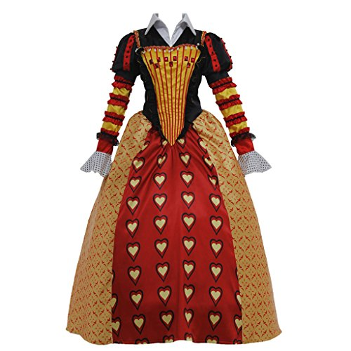 CosplayDiy Women's Dress Set for Alice in Wonderland Red Queen of Hearts Cosplay -