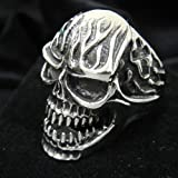 TheBikerMetal 316L Stainless Steel Men's Skull Head Ring for Harley Rider Motor Biker TR-65