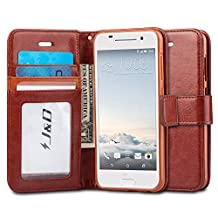 HTC One A9 Case, J&D [Stand View] HTC One A9 Wallet Case [Slim Fit] [Stand Feature] Premium Protective Case Wallet Leather Case for HTC One A9 (HTC ONE A9, Brown)