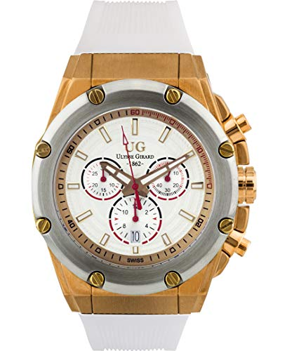 Gold Chronograph Swiss - Ulysse Girard Swiss Chronograph Arbour Mens Watch - White Sillicone Strap, Golds Case, White Dial