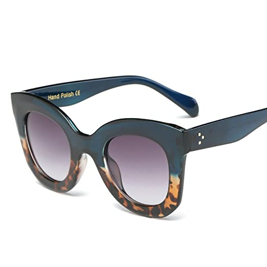 215c030980 Fashion UV400 Cat Eye Sunglasses Vintage Gradient Sun Glasses for Women  Blue And Leopard Frame Gradient