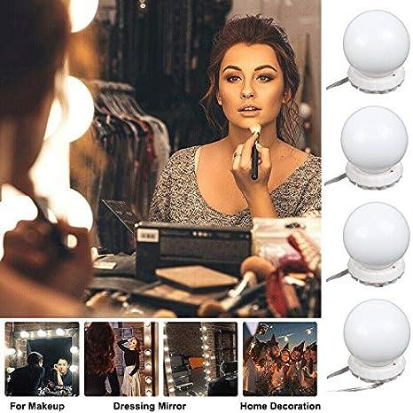 XuanYue Lampada Trucco 4 lampadine a LED Specchio Stile Hollywood Lampada per Trucco con Lampadine LED Dimmerabili Lampada