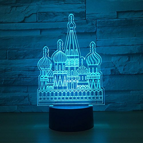 Castle 3D Visual Night Light LED Table Desk Lamp Toy Household Home Room Decor 7 Colors Change Touch Table Light Birthday Gift Christmas for Kids and Adult
