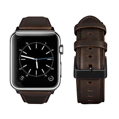 top4cus Genuine Leather iwatch Strap Replacement Band Stainless Metal Clasp, Compatible Apple Watch Series 4 Series 3 Series 2 Series 1 and Sport Edition (Matte Coffee a, 38 mm)