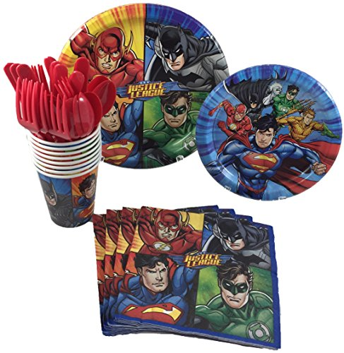 BashBox Justice League Superhero Birthday Party Supplies Pack Including Cake & Lunch Plates, Cutlery, Cups & Napkins for 8 Guests