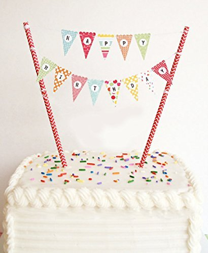 ELSKY Mini Happy Birthday Cake Bunting Banner Cake Topper Garland – Handmade Pennant Flags with Red Dots Straw Pole, Party Cake Decoration Supplies