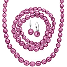 Honora Fuchsia Freshwater Ringed Cultured Pearl Earring, Bracelets & Necklace Set in Sterling Silver