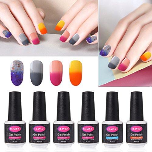 CLAVUZ Gel Nail Polish Set Soak Off Color Changing Nail Polish Base and Top Coat Manicure Nail Art Kit -