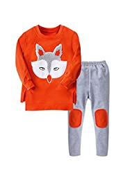 Moonker Boys Girls Fall Winter Fox Clothes Outfits 5-10 Years Old Kids Chlid Long-Sleeved Sweatershirt Tops Pants Sets