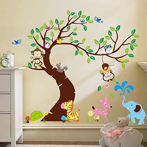 Fymural Cartoon Kid Bedroom Decor - Forest Animal Monkey Owls Hedgehog Tree Wall Sticker Baby Swing Nursery Murals Decals DIY Vinyl Removable Wall Art for Kids Girls Room ()